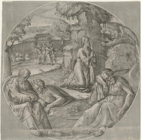 Wall Art - Drawing - Christ In The Garden Of Gethsemane, Crispijn Van Den Broeck by Crispijn Van Den Broeck