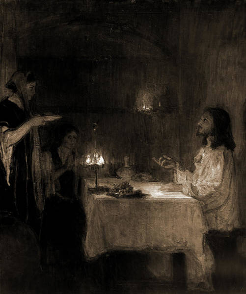 Christ Drawing - Christ In The Home Of Mary And Martha, Tanner, Henry by Litz Collection
