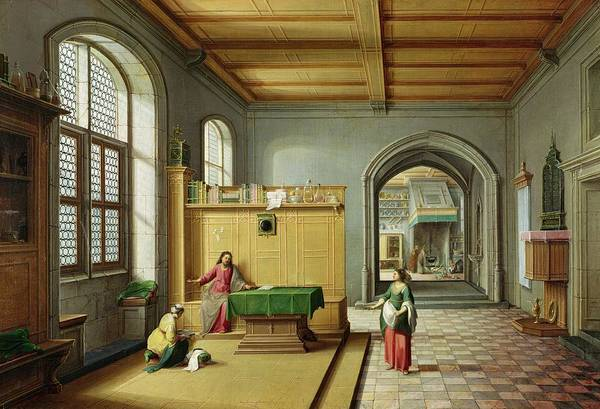 Wall Art - Photograph - Christ In The House Of Martha And Mary Oil On Canvas by Hendrik van Steenwyk