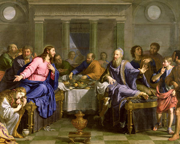 Wall Art - Painting - Christ In The House Of Simon The Pharisee by Philippe de Champaigne