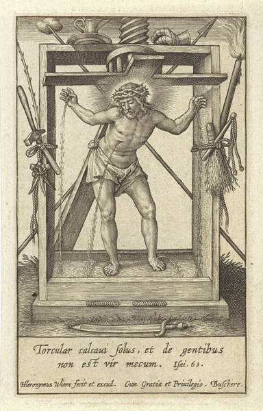 Suffering Drawing - Christ In The Winepress, Hieronymus Wierix by Hieronymus Wierix