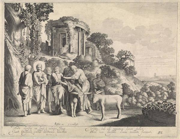 Prepare Drawing - Christ Is Preparing For The Arrival In Jerusalem by Jan Van De Velde Ii And Adrianus Iekerman And Claes Jansz. Visscher Ii