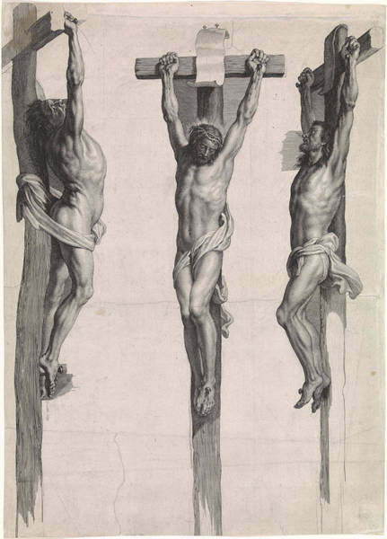 Bystander Drawing - Christ On The Cross. Schelte Adamsz by Peter Paul Rubens