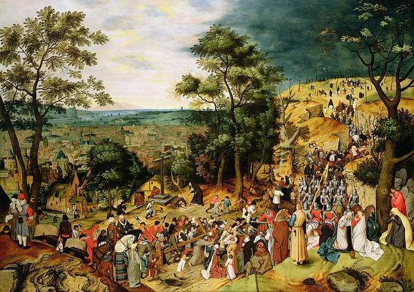 Procession Photograph - Christ On The Road To Calvary, 1607 Panel by Pieter the Younger Brueghel