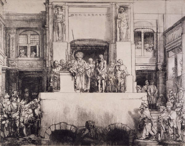 Palace Drawing - Christ Presented To The People, 1655 by Rembrandt Harmensz. van Rijn