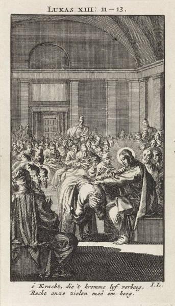 Healing Drawing - Christ Puts His Hand On A Woman, Jan Luyken by Jan Luyken And Wed. Pieter Arentsz & Cornelis Van Der Sys (ii)