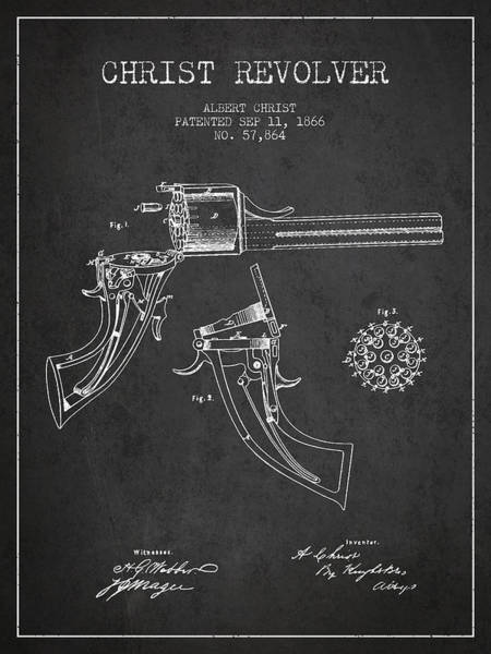 Weapons Digital Art - Christ Revolver Patent Drawing From 1866 - Dark by Aged Pixel