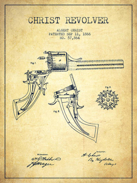 Weapons Digital Art - Christ Revolver Patent Drawing From 1866 - Vintage by Aged Pixel