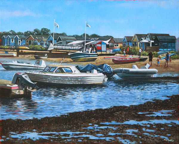 Wall Art - Painting - Christchurch Hengistbury Head Beach With Boats by Martin Davey