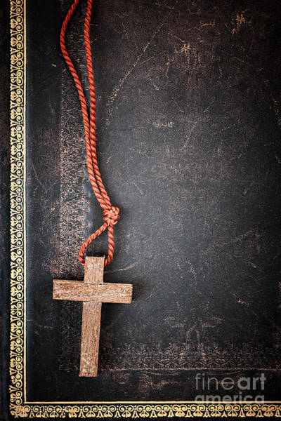 Protestant Photograph - Christian Cross On Bible by Elena Elisseeva