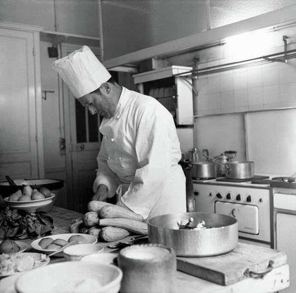 Cooking Photograph - Christian Dior's Private Chef by Horst P. Horst