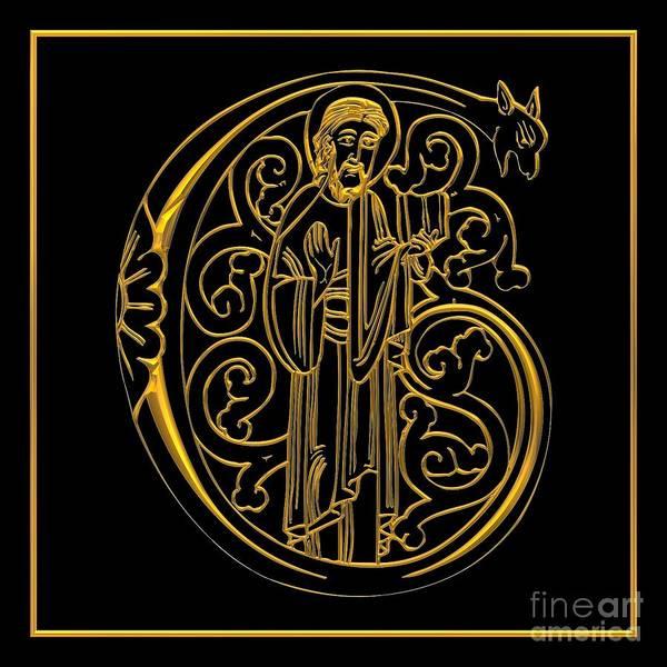 Gargoyle Digital Art - Christian Initial Letter G by Rose Santuci-Sofranko