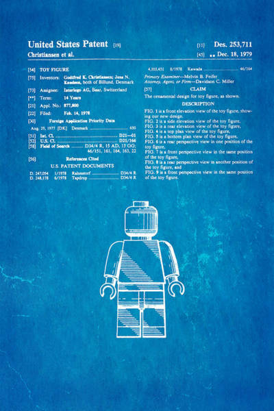 Household Photograph - Christiansen Lego Figure Patent Art 1979 Blueprint by Ian Monk