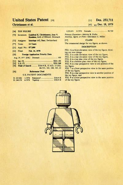 Wall Art - Photograph - Christiansen Lego Figure Patent Art 1979 by Ian Monk