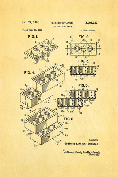Inventor Photograph - Christiansen Lego Toy Building Block Patent Art 1961 by Ian Monk