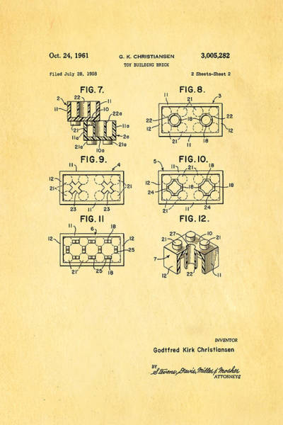 Wall Art - Photograph - Christiansen Lego Toy Building Block Patent Art 2 1961 by Ian Monk