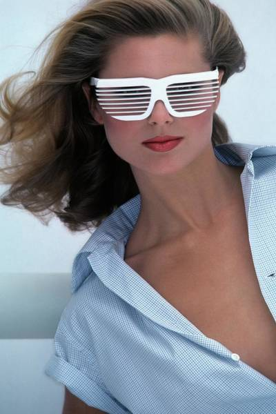 1977 Photograph - Christie Brinkley Wearing R&d Volpini Sunglasses by Jacques Malignon