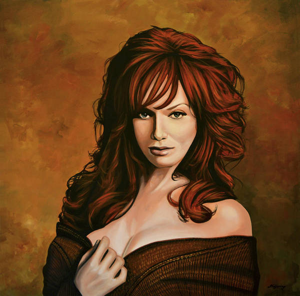 Wall Art - Painting - Christina Hendricks Painting by Paul Meijering