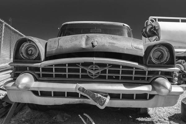 Indio Photograph - Forgotten 53 Packard Black And White by Scott Campbell