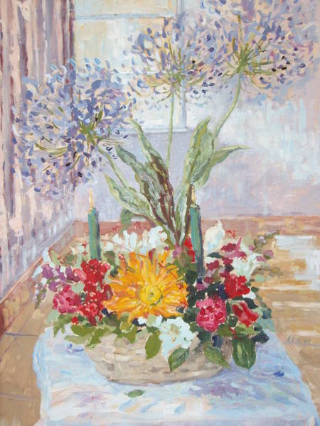 Snapdragons Painting - Christmas Altar by Elinor Fletcher