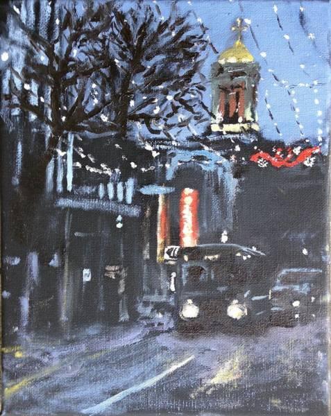 Bier Painting - Christmas At Bier Garten by Adam Underwood