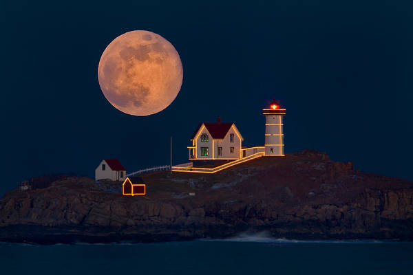 Photograph - Christmas At Nubble by Dale J Martin
