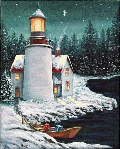 Christmas At The Light Art Print