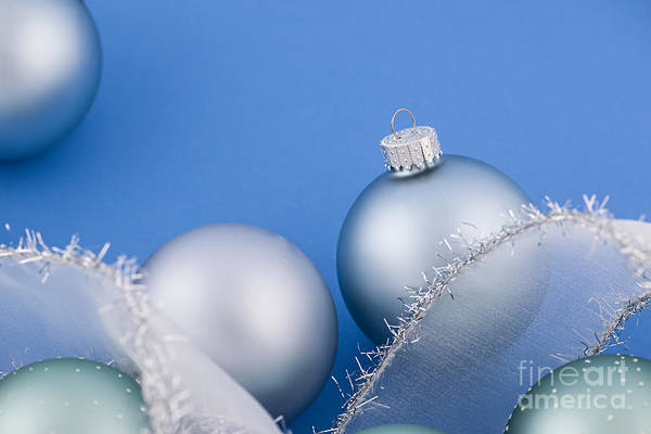 Wall Art - Photograph - Christmas Baubles On Blue by Elena Elisseeva