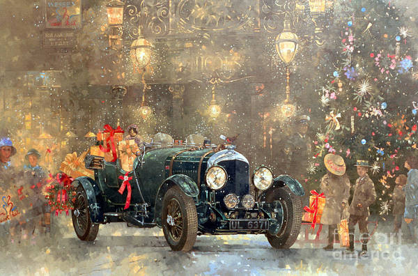 Old Car Wall Art - Painting - Christmas Bentley by Peter Miller
