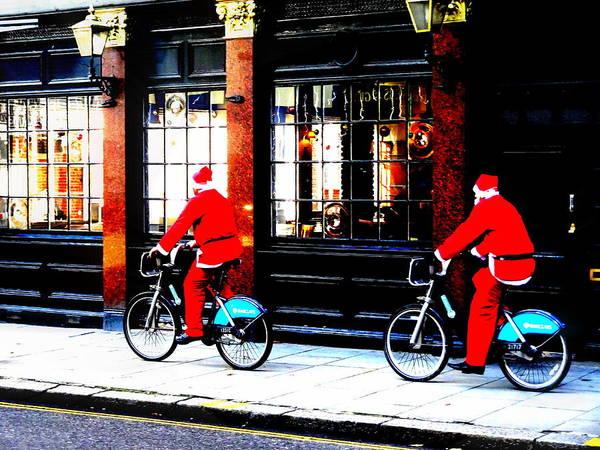 Wall Art - Photograph - Christmas Biking In London  by Funkpix Photo Hunter