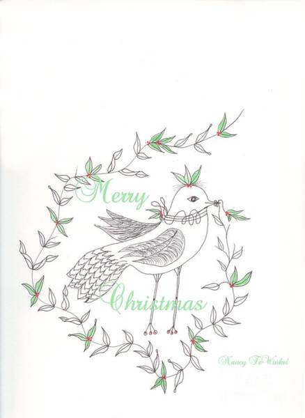 Wall Art - Drawing - Christmas Bird by Nancy TeWinkel Lauren