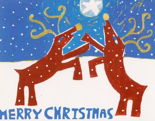 Yule Tide Painting - Christmas Bucks by Allison  Fauchier