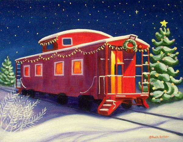 Red Caboose Painting - Christmas Caboose by Ruth Soller