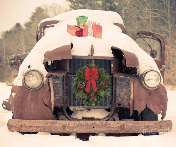 New Hampshire Wall Art - Photograph - Christmas Car Card by Edward Fielding