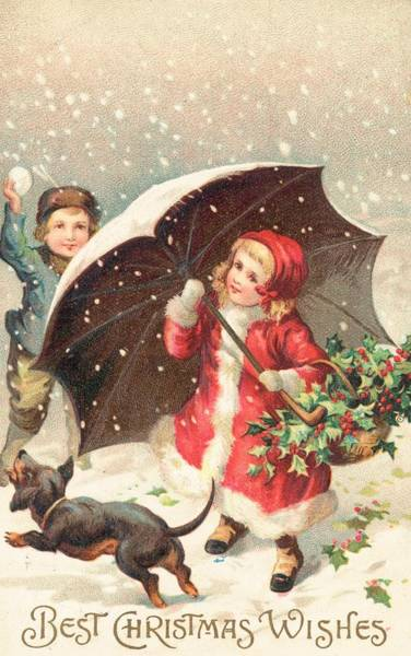 Throwing Wall Art - Painting - Christmas Card by British School