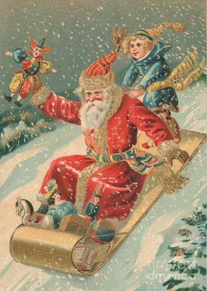 St Nicholas Painting - Christmas Card by Dutch School