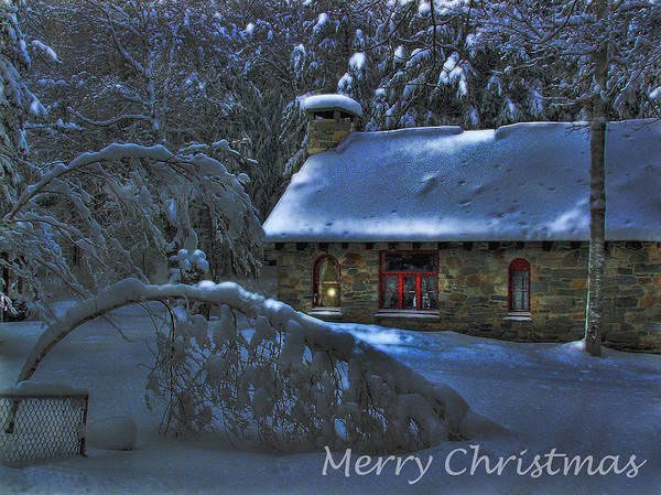 Photograph - Christmas Card Moonlight On Stone House by Wayne King