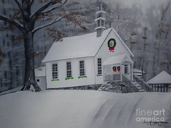 Painting - Christmas Card - Snow - Gates Chapel by Jan Dappen