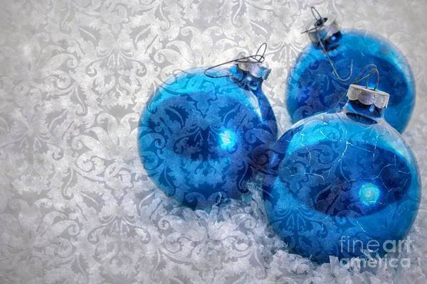 Yule Photograph - Christmas Card With Vintage Blue Ornaments by Edward Fielding