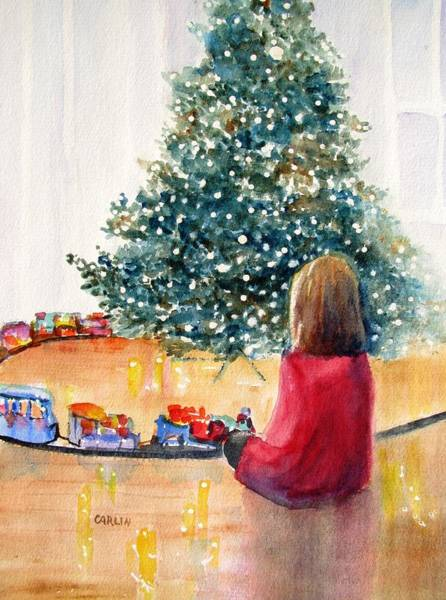 Happy Little Trees Painting - Christmas  by Carlin Blahnik CarlinArtWatercolor