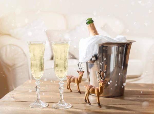 Bucket Photograph - Christmas Champagne by Amanda Elwell