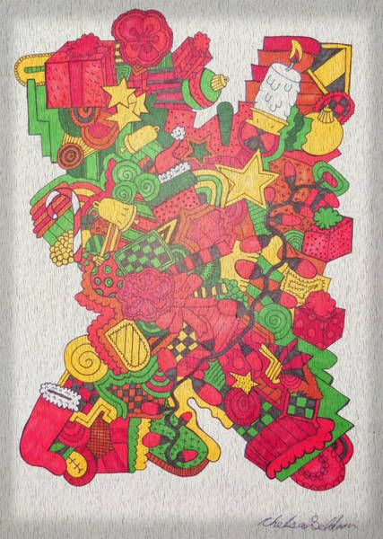 Wall Art - Drawing - Christmas by Chelsea Geldean