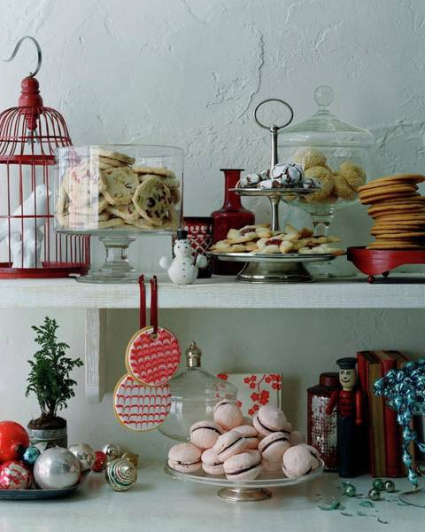 Dessert Photograph - Christmas Cookies And Ornaments by Romulo Yanes