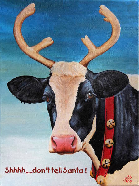 Holstein Wall Art - Painting - Christmas Cow by Laura Carey