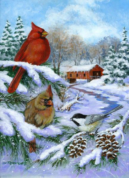 Covered Bridge Painting - Christmas Creek by Richard De Wolfe