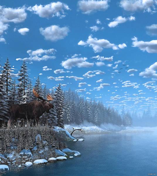 Digital Art - Christmas Day At Moose Lake by Ken Morris