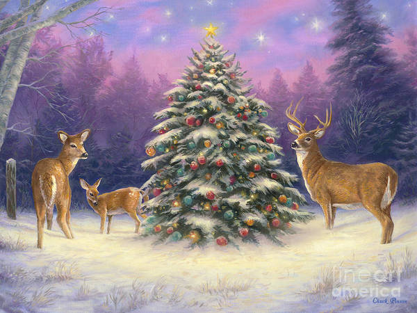 Christmas Tree Painting - Christmas Deer by Chuck Pinson