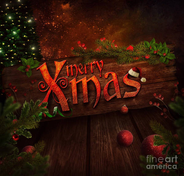 Bauble Digital Art - Christmas Design - Xmas Sign by Mythja  Photography