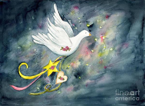 Christmas Dove In Flight Art Print