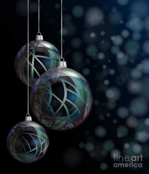 Glossy Photograph - Christmas Elegant Glass Baubles by Jane Rix